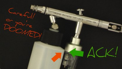 Siphon feed airbrushes might have a tight fit...